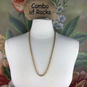 Monet Vintage Signed Gold Tone Rope Necklace